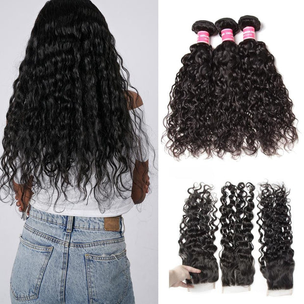 Klaiyi Hair-Virgin Peruvian Hair Water Wave 3 Bundles with 4*4 Lace Closure, No Shedding and Tangle Free