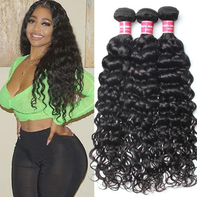 Klaiyi Hair 3 Bundles Brazilian Water Wave Curly Hair Deals