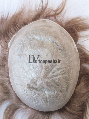 Hair Replacement Extra Thin Poly With Hair Single V-looped