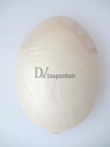 Toupee For Men Skin W/Gauze Base With French Lace Front