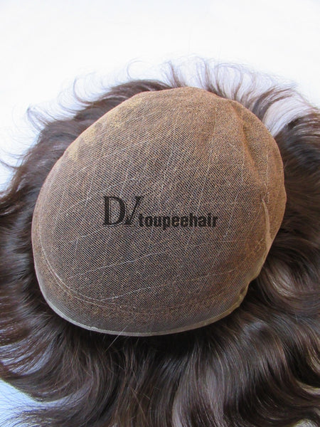 Men's Toupee All Delicate French Lace 5
