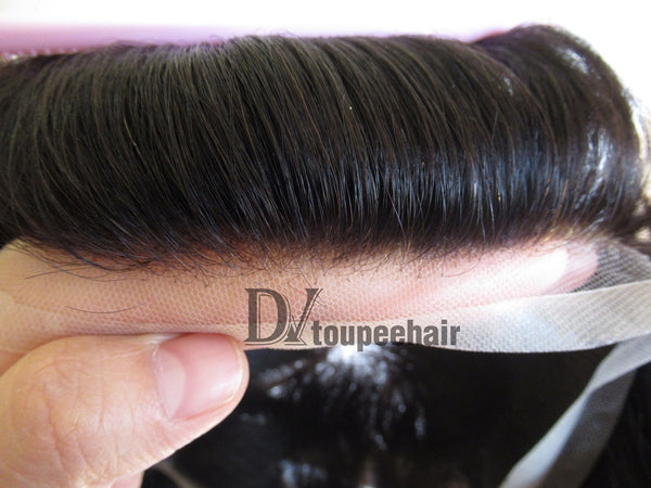 Men's Human Hair Toupee All Super Fine Swiss Lace natural hairline
