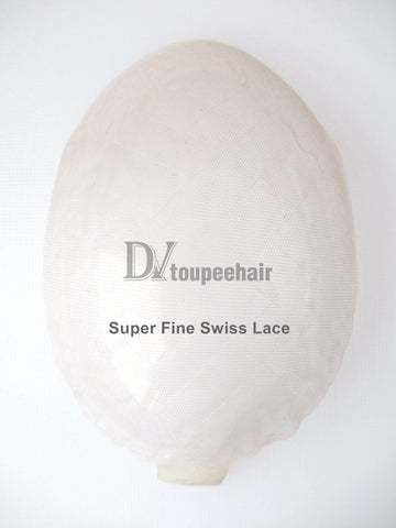 Men's Human Hair Toupee All Super Fine Swiss Lace