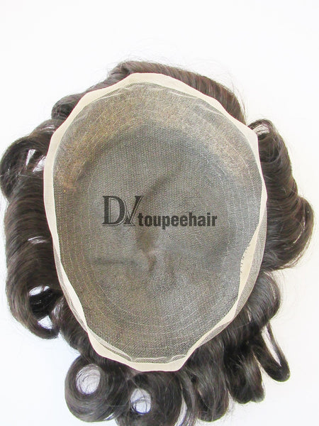 Men's Human Hair Toupee All Super Fine Swiss Lace 2