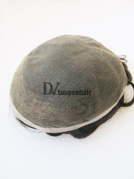 Men's Human Hair Toupee All Super Fine Swiss Lace 5