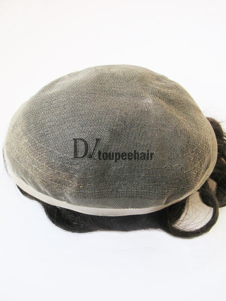 Men's Human Hair Toupee All Super Fine Swiss Lace 6