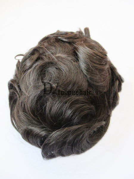 Men's Human Hair Toupee All Super Fine Swiss Lace 8