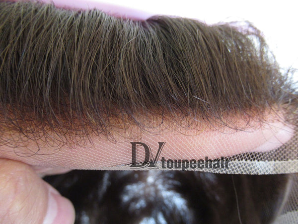 Custom Made Hair System For Men French Lace Front With Transparent Poly On Sides And Back, Replacable Frontal natural hairline