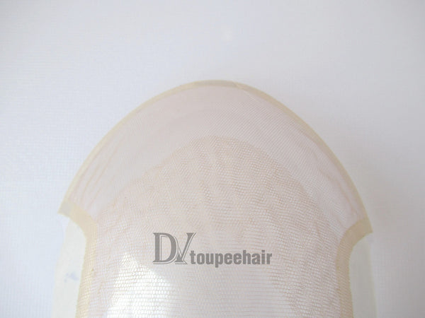 Custom Made Hair System For Men French Lace Front With Transparent Poly On Sides And Back, Replacable Frontal 5