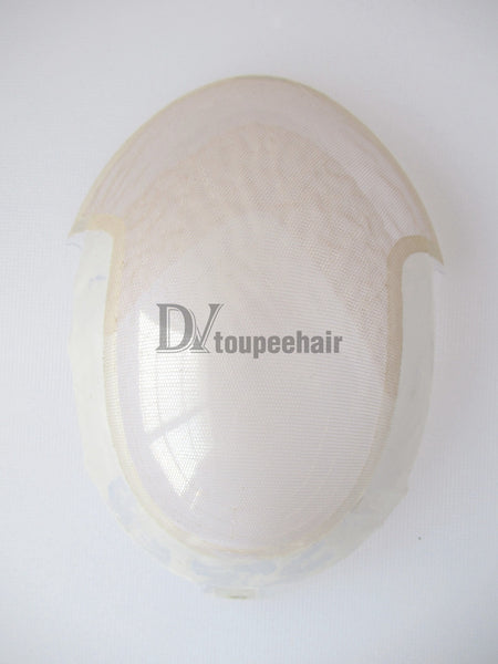 Custom Made Hair System For Men French Lace Front With Transparent Poly On Sides And Back, Replacable Frontal