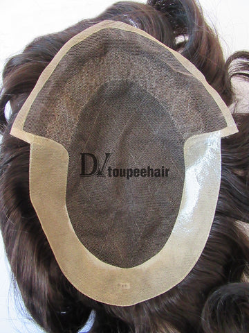 Custom Made Hair System For Men French Lace Front With Transparent Poly On Sides And Back, Replacable Frontal 2