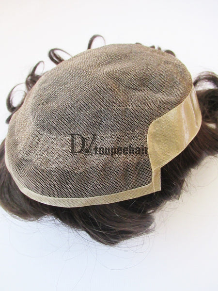 Custom Made Hair System For Men French Lace Front With Transparent Poly On Sides And Back, Replacable Frontal 6