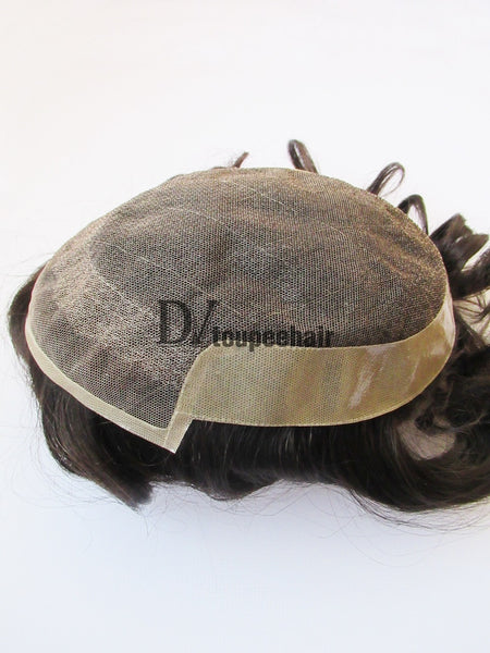 Custom Made Hair System For Men French Lace Front With Transparent Poly On Sides And Back, Replacable Frontal 7