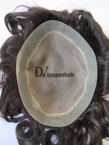 Custom Made Hairpiece For Men Fine Mono Center With Transparent Poly All Around Perimeter