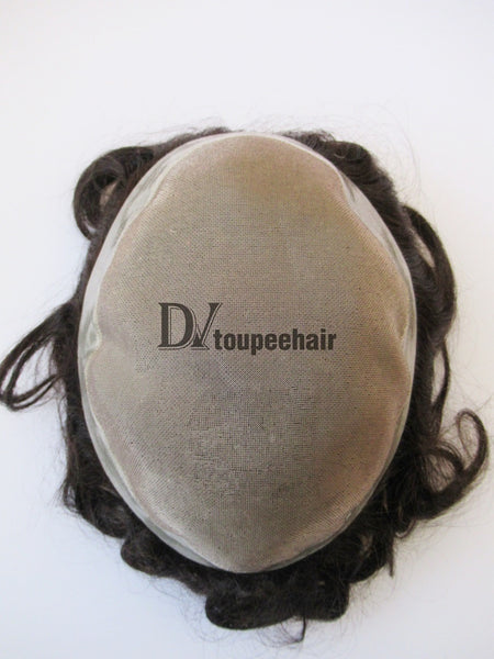 Custom Made Hairpiece For Men Fine Mono Center With Transparent Poly All Around Perimeter 3