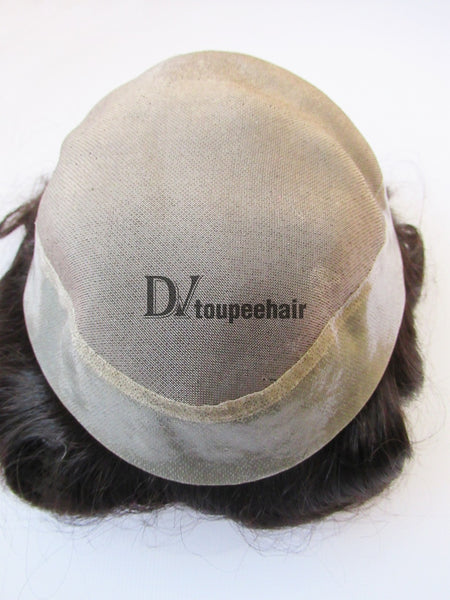 Custom Made Hairpiece For Men Fine Mono Center With Transparent Poly All Around Perimeter 4