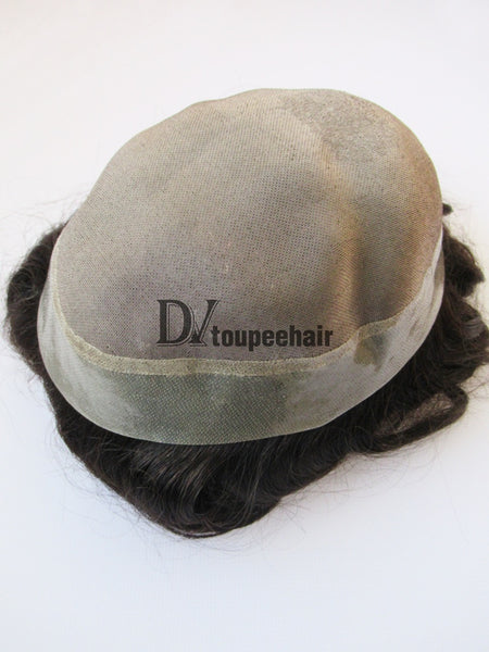 Custom Made Hairpiece For Men Fine Mono Center With Transparent Poly All Around Perimeter 5