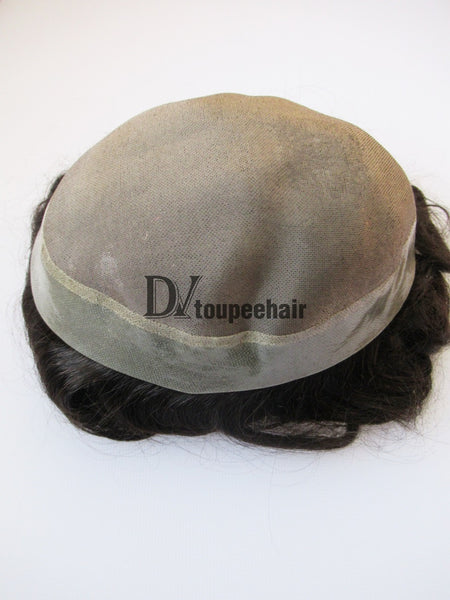 Custom Made Hairpiece For Men Fine Mono Center With Transparent Poly All Around Perimeter 6