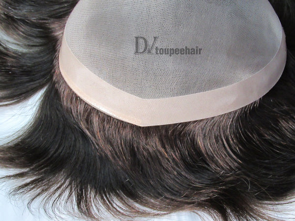 Hairpiece For Men In Stock FYX: Fine Mono With PU Coated All Around Perimeter Plus Folded Lace Front Edge 5