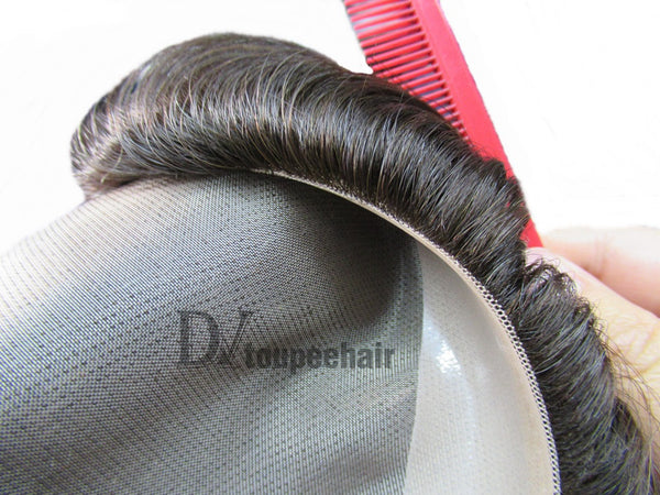 Hairpiece For Men In Stock FYX: Fine Mono With PU Coated All Around Perimeter Plus Folded Lace Front Edge 8