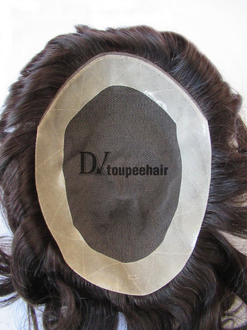 Hairpiece For Men In Stock: French Lace With PU Coated All Around Perimeter Plus Folded Lace Front Edge