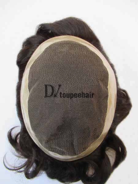Hairpiece For Men In Stock French Lace With PU Coated All Around Perimeter Plus Folded Lace Front Edge 2