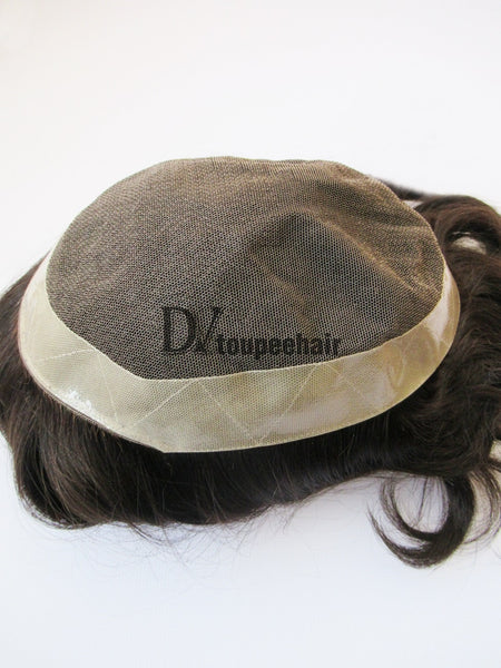 Hairpiece For Men In Stock French Lace With PU Coated All Around Perimeter Plus Folded Lace Front Edge 5