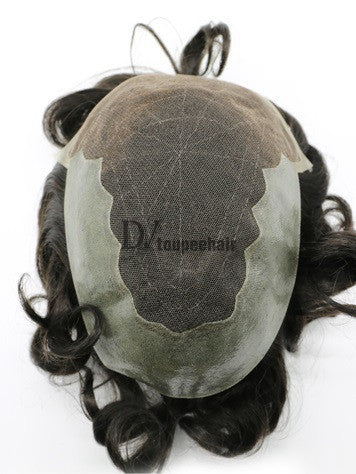 Men's Hair System In Stock French Lace Front With Transparent Poly On Sides And Back 3
