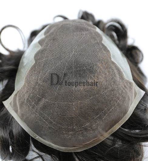 Men's Hair System In Stock French Lace Front With Transparent Poly On Sides And Back 5