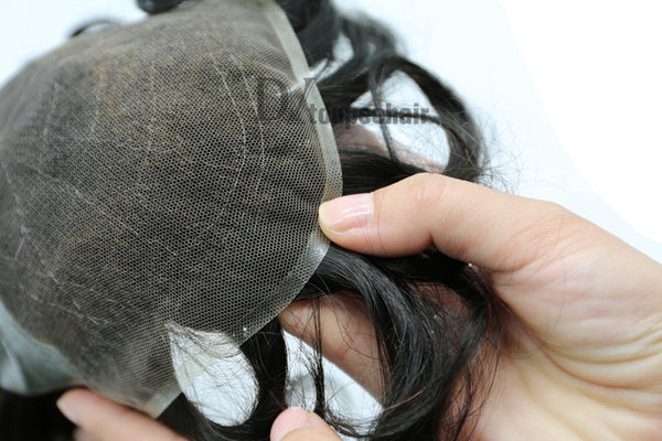 Men's Hair System In Stock French Lace Front With Transparent Poly On Sides And Back 6