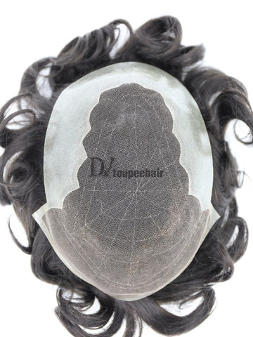 Men's Hair System In Stock: French Lace Front With Transparent Poly On Sides And Back