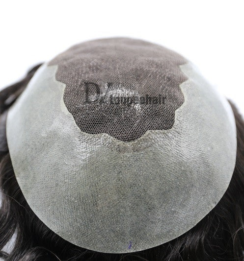Men's Hair System In Stock French Lace Front With Transparent Poly On Sides And Back 7