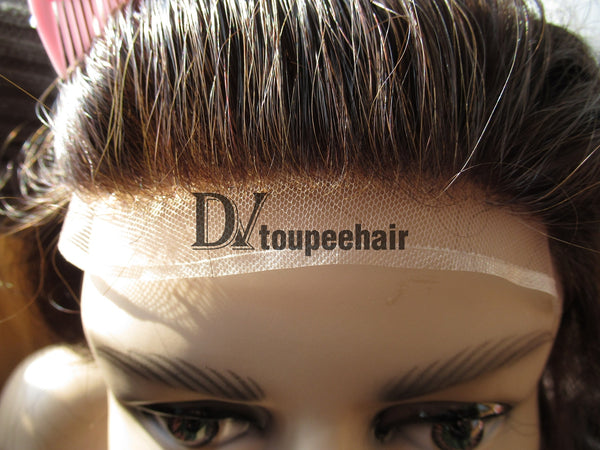 Men's Hair System In Stock French Lace Front With Transparent Poly On Sides And Back 9