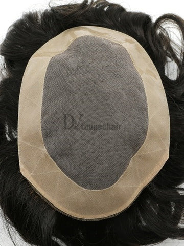 Hairpiece For Men In Stock: Fine Mono With PU Coated All Around Perimeter Plus Folded Lace Front Edge