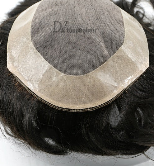 Hairpiece For Men In Stock Fine Mono With PU Coated All Around Perimeter Plus Folded Lace Front Edge 3