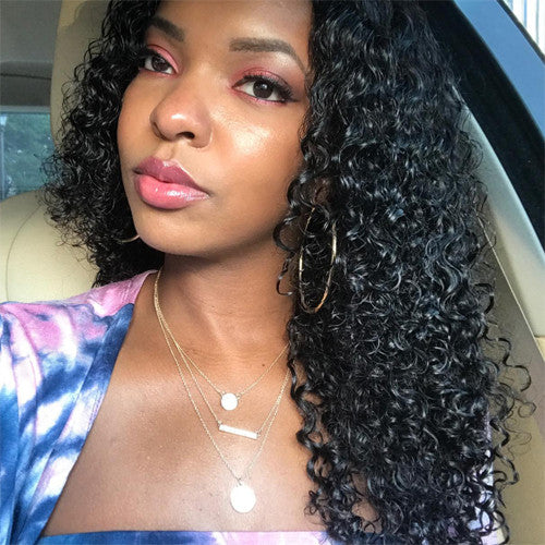 Peruvian Virgin Curly Hair Bundles with Ear to Ear Lace Frontal