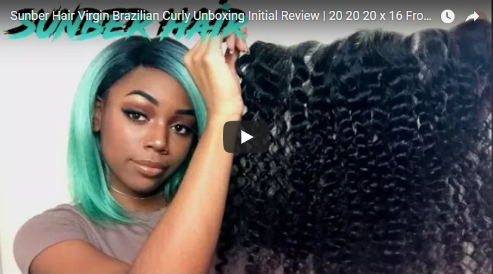 Sunber Hair Virgin Brazilian Curly Unboxing Initial Review,  20 20 20 x 16 Frontal