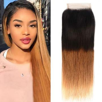 ombre straight hair lace closure