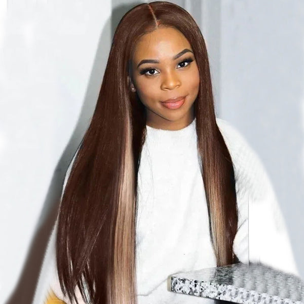 Highlight Brown Chocolate D427 Color Straight Wig