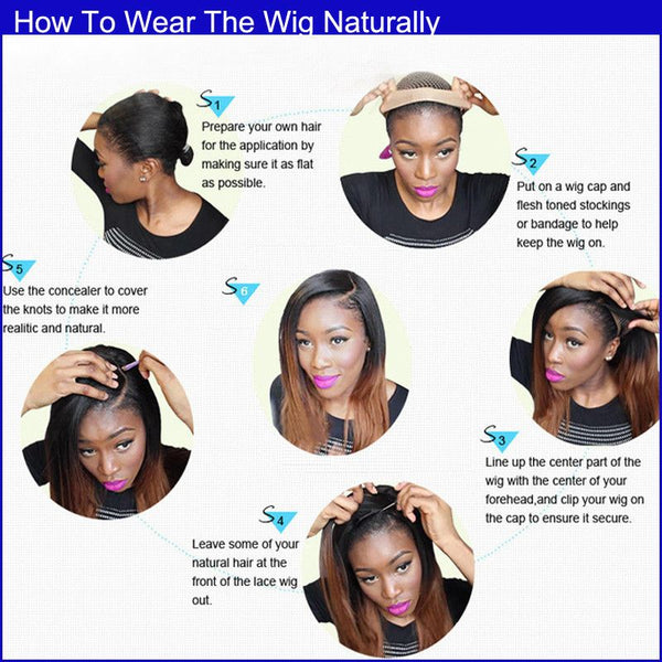 step by step to put on a wig