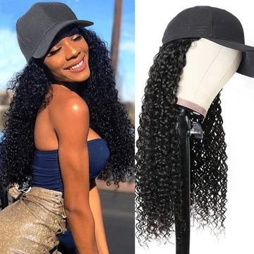long curly baseball cap wig
