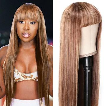honey blonde highlight wig with bangs