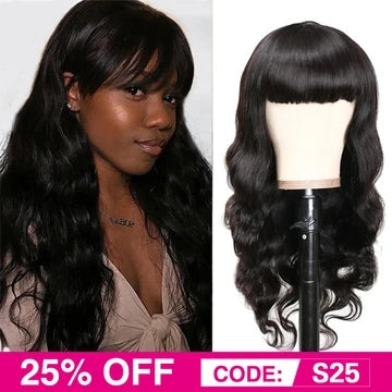 Brazilian body wave machine made hair wig
