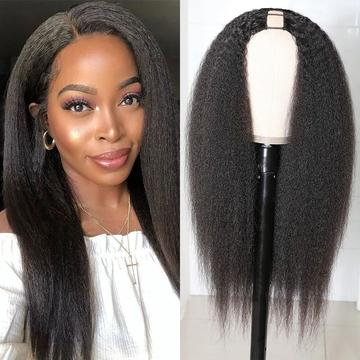 kinky straight hair u part wig