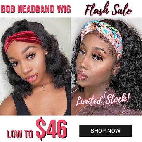 Flash Sale For BOB Headband Wigs Body Wave/ Water Wave Scarf Wigs Low To $46