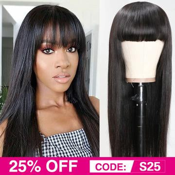 Brazilian straight machine made hair wig