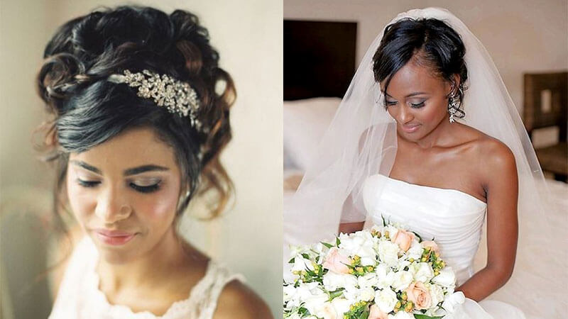 Curly Wedding Updo With Bangs for Women