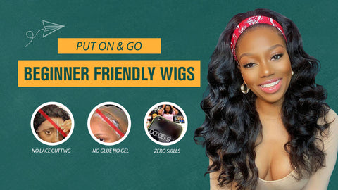 Sunber Jerry Curly Scarf Wigs 100% Virgin Human Hair Wig No Glue No Sew In Headband Wig for Women