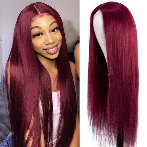 Sunber 99J Hand Tied Hair Line Lace Part Wig Long Straight Burgundy Red Human Hair Wigs 150% Density