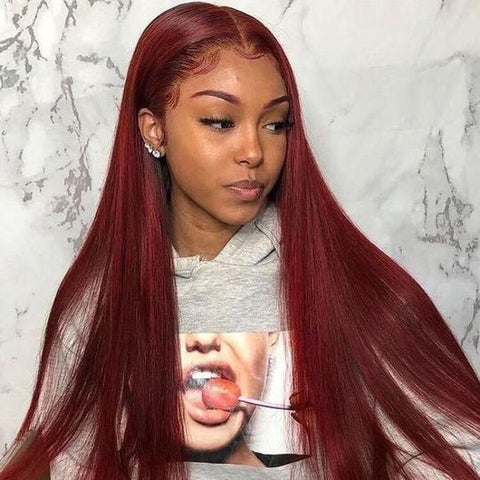 Sunber Dark 99J Burgundy Color 13x4 Lace Front Wigs Pre Plucked Long Straight Human Hair Wigs
